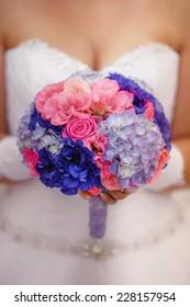Wedding flowers Bride bouquet, marriage decoration closeup, bridal decor. series