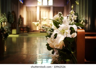 Wedding flowers in a church