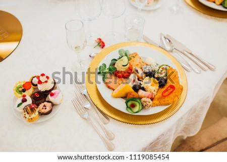 Wedding Food Plate Decoration Stock Photo Edit Now 1119085454