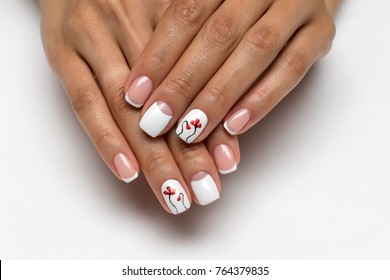 wedding French manicure with red poppies on short nails