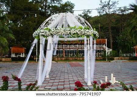 Wedding Gazebo Decorated Flowers Stock Photo Edit Now 795741907