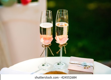 The wedding glasses of champagne