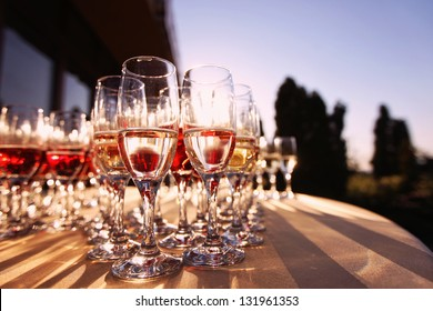 Wedding glasses filled with champagne