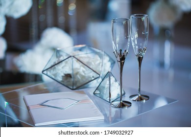 Wedding glasses at the registration Desk on-site ceremony.