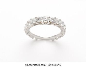 Wedding gold diamond ring isolated on white background