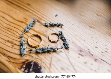 wedding gold rings in the house of lavender