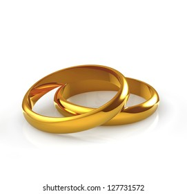 wedding gold rings on white background