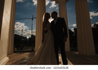 Wedding in greece. Groom and bride stand by the big column