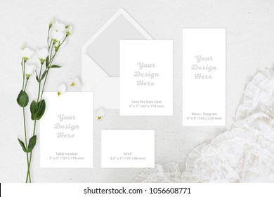 Wedding greeting invite card blank set. Gentle mockup template with eustoma flower and lace
