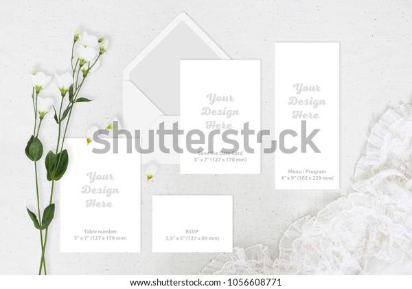 Wedding Greeting Invite Card Blank Set Stock Photo Edit Now