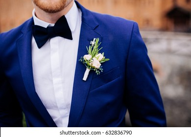 Wedding. The groom in a blue suit with black butterfly with a buttonhole outdoor