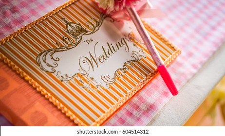 wedding guest book on the table