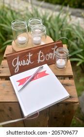 wedding guest book , wedding set up