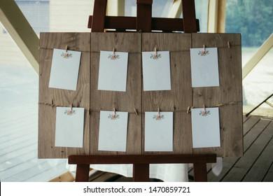 Wedding guest list, invitations, invitation board