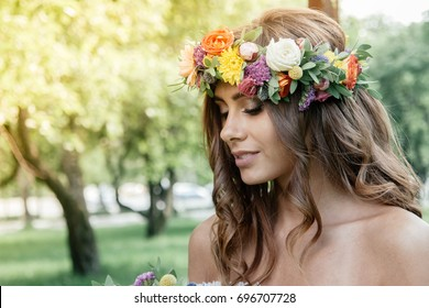 Wedding hair style - bride with flower wreath, bridal event