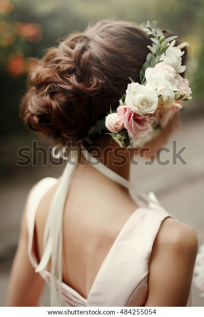 Wedding Hair Style Luxury Pink Floral Stock Photo Edit Now 484255054