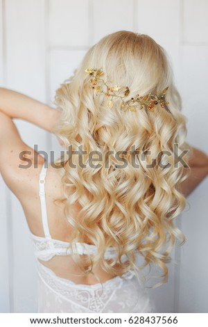 Wedding Hairstyle Accessories Long Blond Curly Stock Photo Edit Now