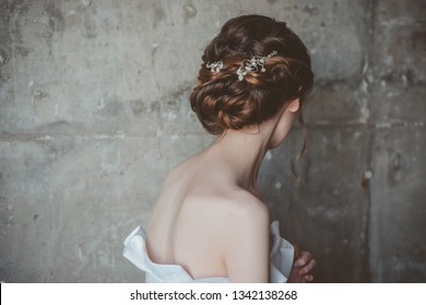 Wedding hairstyle. Back view