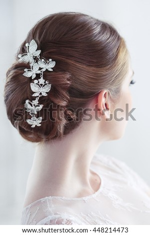Wedding Hairstyle Decoration Rear View Stock Photo Edit Now