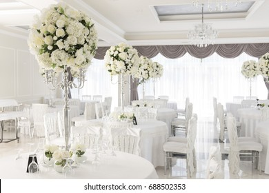Wedding hall, Beautifully decorated in white