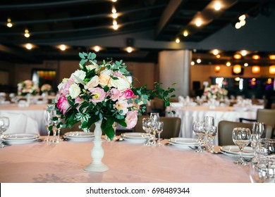 Wedding hall decorated with flowers. Wedding Festive decor. Wedding interior.