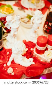 wedding hall.  Table set for an event party or wedding reception. decorated wedding table in the restaurant. Valentines day dinner with holiday elegant ornaments