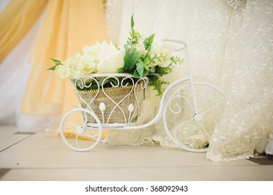 Wedding handmade decorations at restaurant with all beauty and flowers.