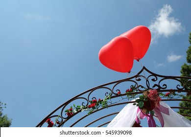Wedding Heart Balloons in Sunny Garden