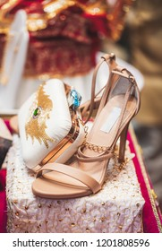 Wedding high heels sandals shoes and accessories used by the Indian bride