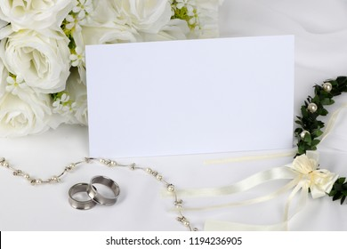 wedding invitation - blank wedding invitation with wedding rings and  white roses