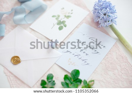 Wedding Invitation Card Decorated Letter Flowers Stock Photo Edit