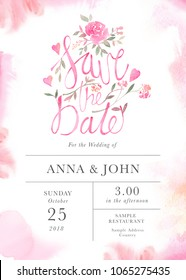 Wedding invitation card template with watercolor rose flowers. Elegant romantic postcard layout with pink roses and message for wedding greeting and Save the date cards