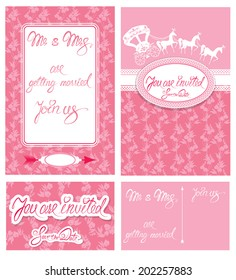 Wedding invitation cards with floral elements, calligraphic handwritten text, carriage and horse. Raster version