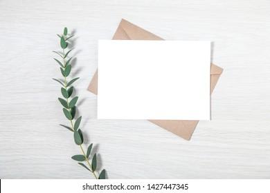 Wedding Invitation Mockup, Styled Eucalyptus Mockup, Elegant Design Minimalist Wedding Invitation Template