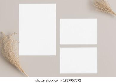 "Wedding invitation stationery mockup with a dried grass decoration. Dimensions: 5x7"", 3.5x5""."
