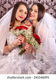 Wedding lesbians girl in bridal dress. Indoor.