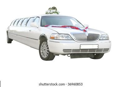 wedding limousine under the white background