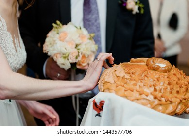 Wedding loaf and bride and groom