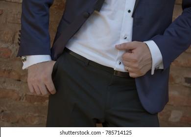 wedding man suit close up details