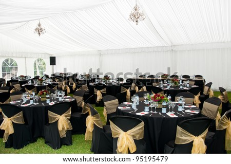 Wedding Marquee Black Gold Theme Stock Photo Edit Now 95195479