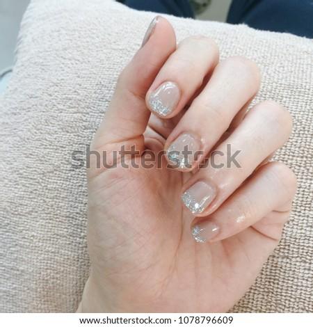Wedding Nail Art Idea Short Nail Stock Photo (Edit Now) 1078796609 ...