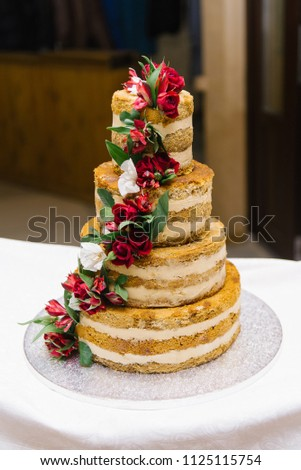 Wedding Naked Cake Burgundy Flowers Stock Photo Edit Now