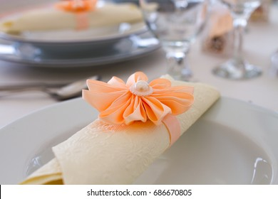 wedding napkin decoration, table appointments closeup