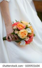 Wedding nice bouquet in hand of bride