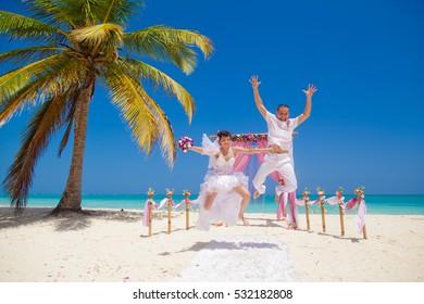 wedding on the beach near the ocean