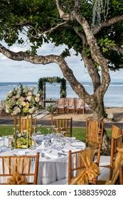 Wedding outdoor table set up. Garden wedding venue