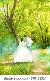 Wedding in the park. Fog