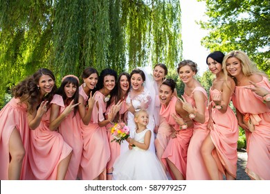 Wedding party, crazy emotions of bride, child with wedding bouquet and beautiful bridesmaids. Stylish guests on wedding