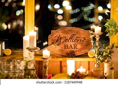 Wedding and party place decoration with wooden welcome sign