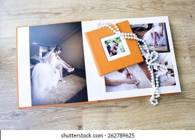 Wedding photo album spread and CD box